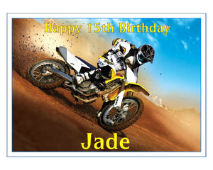 "Personalised Motocross Cake Topper - 10"" x 7.5"" Rectangle - SimplyCakeCraft"