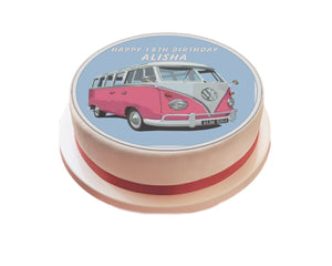 "Personalised Pink VW Camper Van Cake Topper - 7.5"" Circle - SimplyCakeCraft"