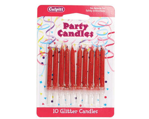 10 Glitter Candles with Holders - Range of Colours - SimplyCakeCraft