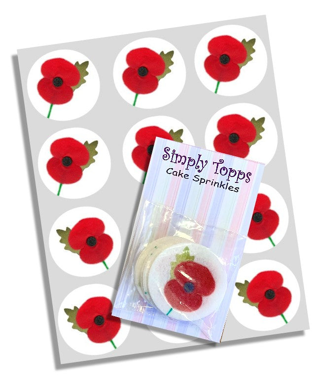 12 Poppy Edible Cupcake Toppers 40mm Cake Decorations Remembrance Day