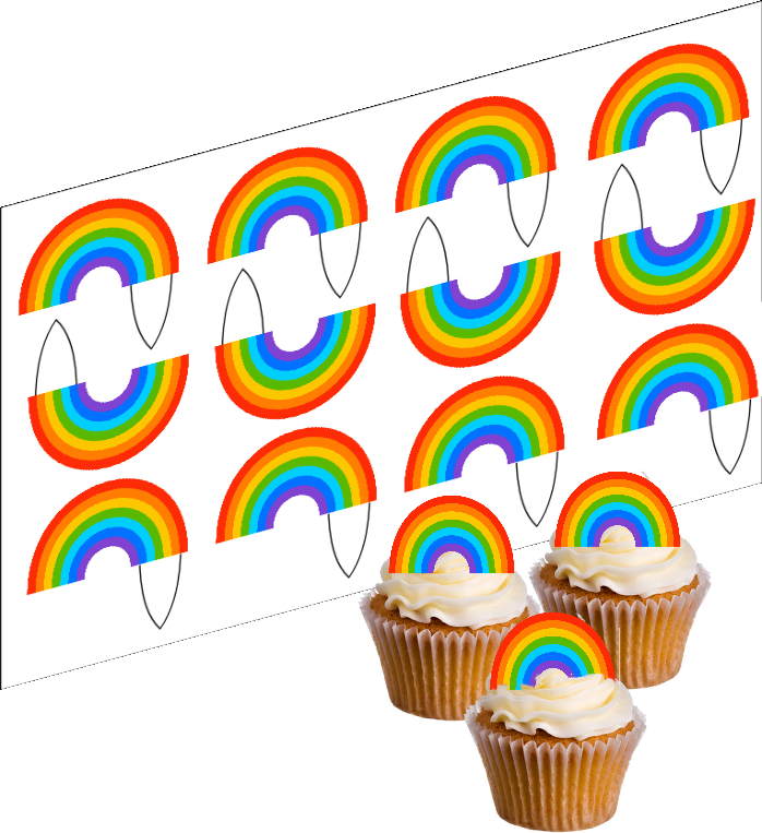 Edible Rainbow Cupcake Decoration Picks - SimplyCakeCraft