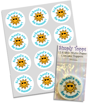 School's out For Summer Edible Cupcake Toppers 40mm Cake Decorations - SimplyCakeCraft