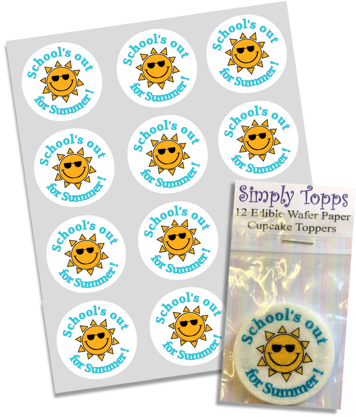 School's out For Summer Edible Cupcake Toppers 40mm Cake Decorations