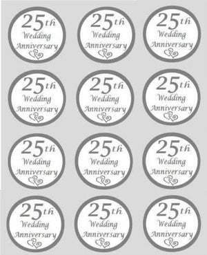 Silver Wedding 25th Anniversary Edible Cupcake Toppers 40mm Cake Decorations - SimplyCakeCraft