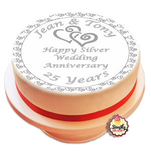 Personalised Silver Wedding Anniversairy 25 Years Cake Topper - SimplyCakeCraft