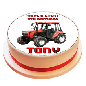 Personalised Red Tractor Cake Topper - SimplyCakeCraft