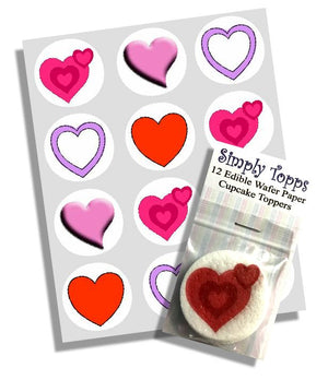Valentine Heart Selection (4 design) Cupcake Toppers - SimplyCakeCraft