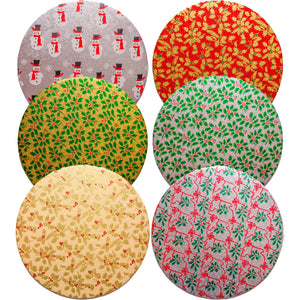 Christmas Round Cake Cards - Festive Designs (Double Thick/10 Inch) - SimplyCakeCraft