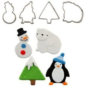 Christmas Winter Cupcake Cutters Snowman Tree Bear Penguin - SimplyCakeCraft