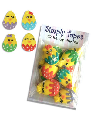 Easter Chick Sugar Decoration Pack of 12 - SimplyCakeCraft