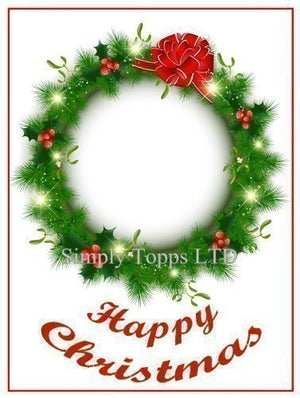 Christmas Wreath Design Cake Topper Decoration - SimplyCakeCraft
