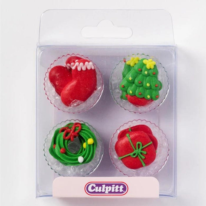 12 Assorted Christmas Theme Sugar Decorations