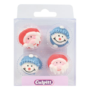 12 Santa And Snowman Xmas Sugar Decorations - SimplyCakeCraft