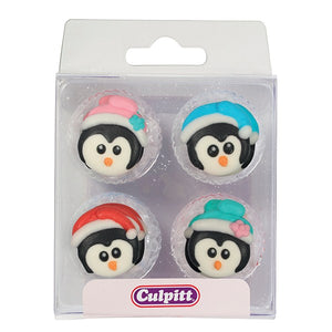 12 Christmas Penguins Sugar Decorations - SimplyCakeCraft
