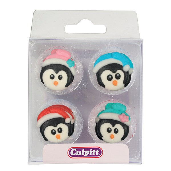 12 Christmas Penguins Sugar Decorations