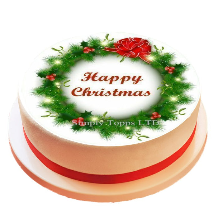 Christmas Wreath Design Cake Topper Decoration