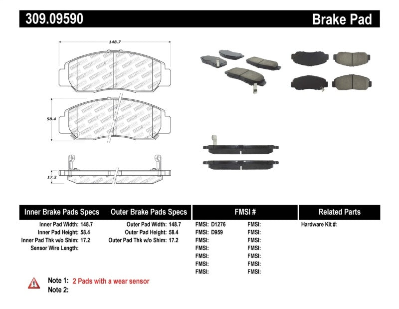 StopTech Performance 03-07 Honda Accord V6 A/T Front Brake Pads