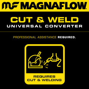 MagnaFlow Conv Univ 2in In/Out Ctr/Ctr Round 9in Body L x 5.125in W x 13in Overall L Single O2 Port