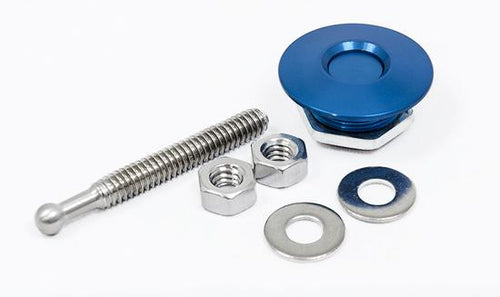 Quick-Latch Mini Push Button Fasteners Blue Anodized