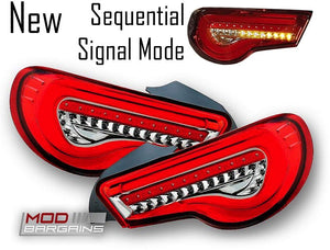 Valenti Sequential  LED Tail Lights Red with Chrome for 2013-2019 Scion FR-S/Subaru BRZ