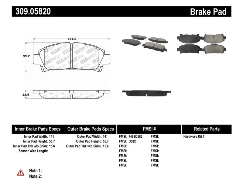 StopTech Performance 92-95 Toyota MR2 Turbo Front Brake Pads