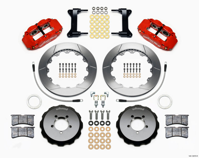 Wilwood Narrow Superlite 6R Front Hat Kit 12.88in Red 2012-Up Toyota / Scion FRS w/ Lines
