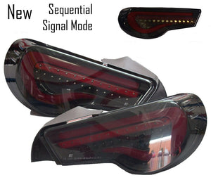 Valenti Sequential LED Tail Lights Smoked Lens Red Light Bar for 2012-2019 Scion FR-S/Subaru BRZ