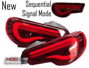 Valenti Sequential  LED Tail Lights Red Lens White Bar for 2013-2019 Scion FR-S/Subaru BRZ