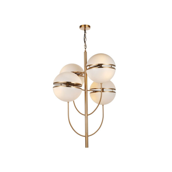 CHANDELIER IRON AND ACRYLIC, IRON IN ANTIQUE BRASS FINISH, WHITE ACRYLIC