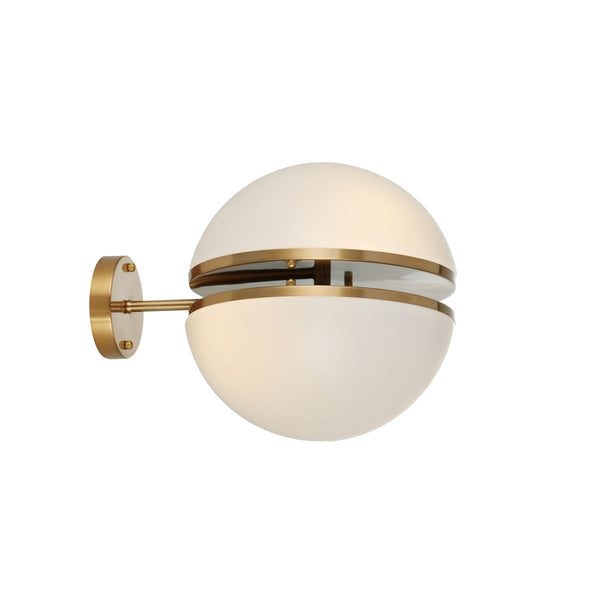 WALL LAMP IRON AND ACRYLIC, IRON IN ANTIQUE BRASS FINISH, WHITE ACRYLIC