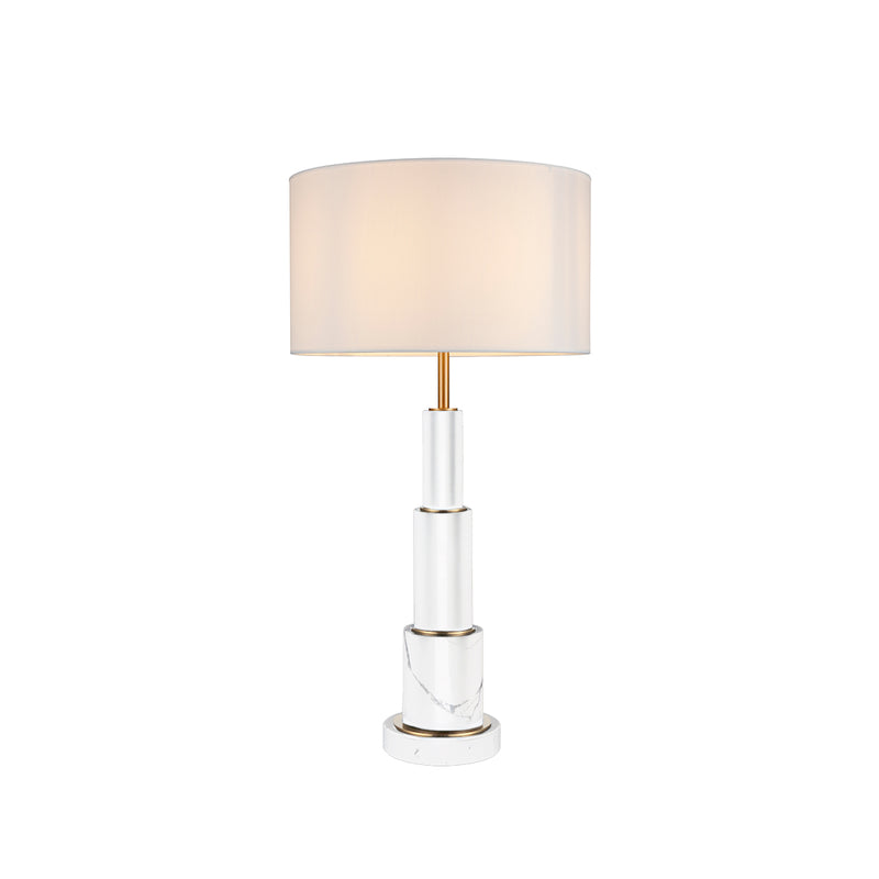 TABLE LAMP IRON IN ANTIQUE BRASS FINISH, BLACK MARBLE