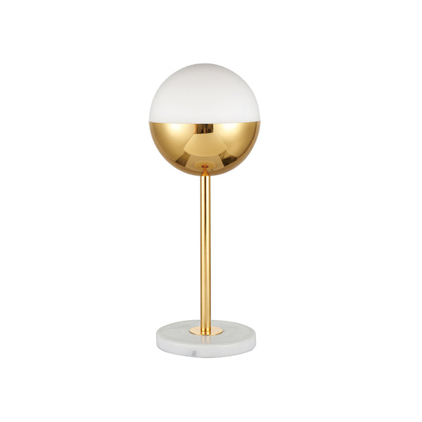 TABLE LAMP IRON AND GLASS, IRON IN SHINNY GOLD FINISH, MILK WHITE GLASS