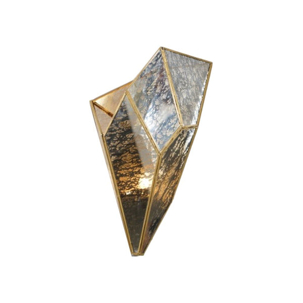CRYSTAL   WALL LAMP MATERIAL IRON GLASS TYPE ANTIQUE SILVER  FINISH ANTIC BRASS SIZE 25X25X39CM