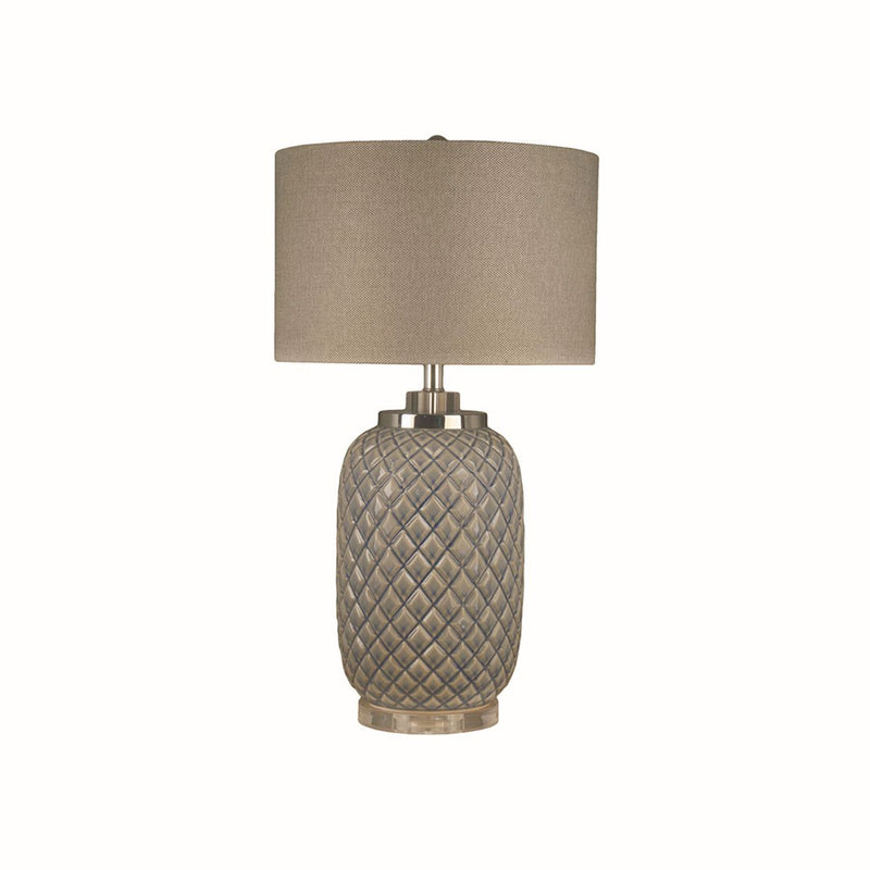 TABLE LAMP WITH CLEAR BASE AND METAL ACCENT,LIGHT BLUE GLAZING WITH CLEAR BASE FINISH