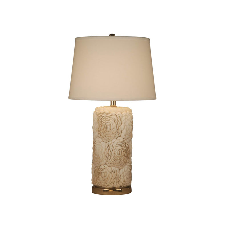 WHITE SHELL TABLE LAMP WITH METAL BASE