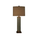 CILINDER GLASS TABLE LAMP WITH SQUARE METAL BASE. SOLID LIGHT GREY GLASS WITH DARK BRUSHED GOLD