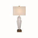 TABLE LAMP WITH SQUARE METAL BASE, CRYSTAL CLEAR & ANTIQUE BRASS METAL FINISH