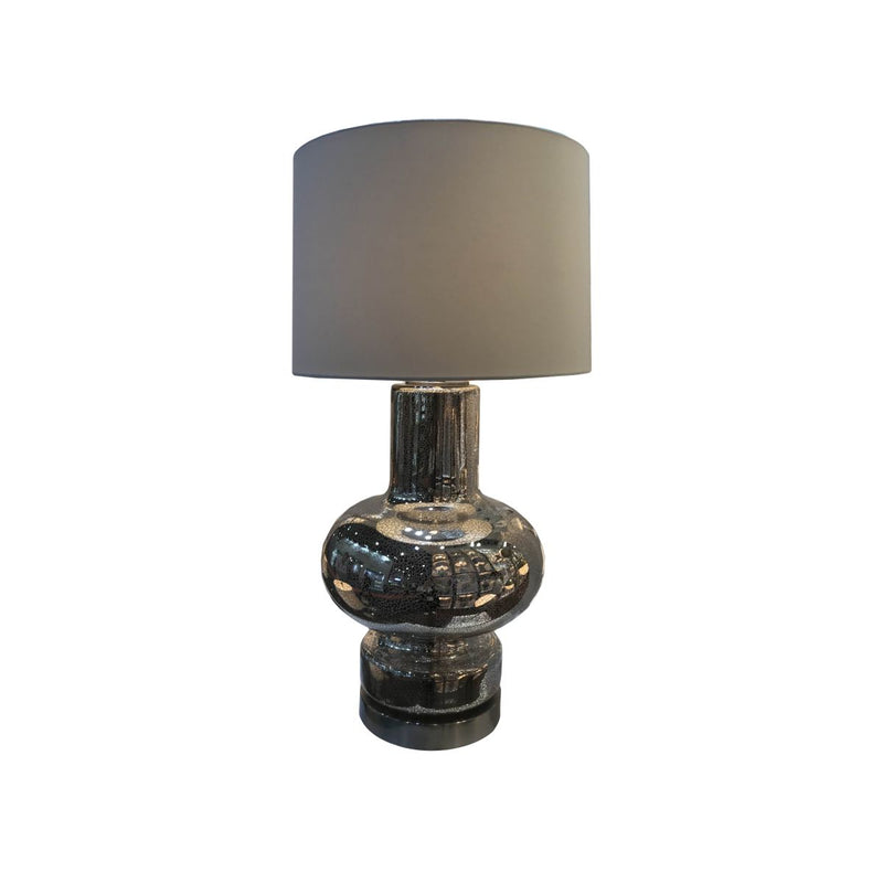 GLASS TABLE LAMP WITH METAL BASE. ANTIQUE MERCURY GLASS WITH BRUSH NICKEL METAL FINISH