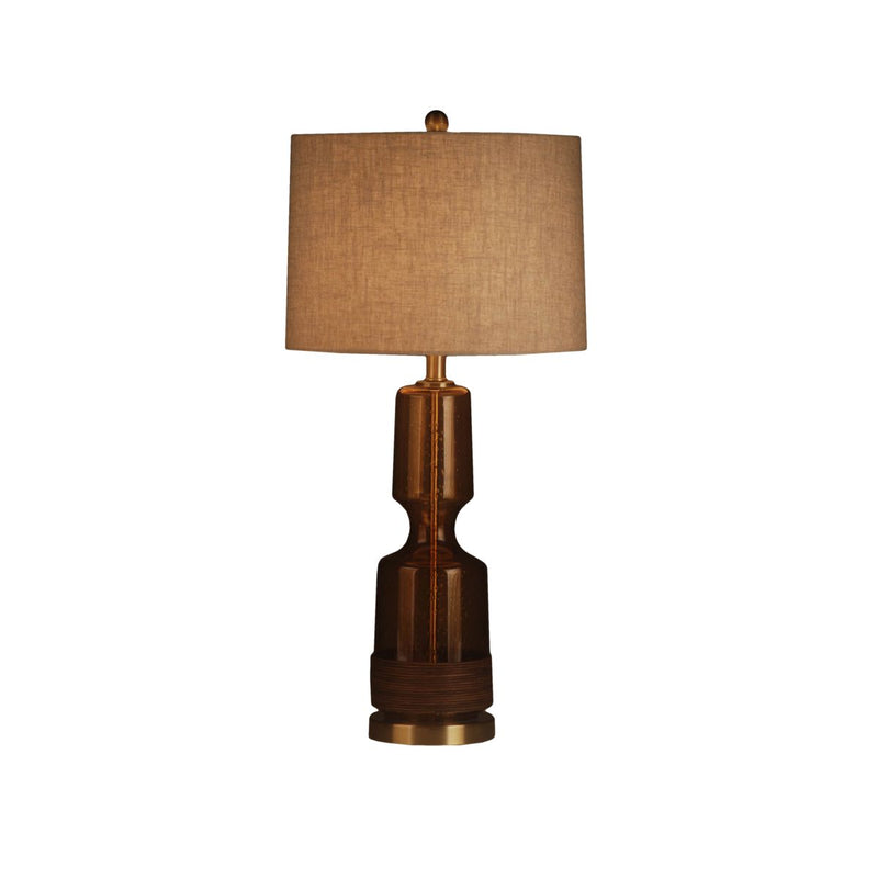 GLASS TABLE LAMP WITH METAL BASE  & RATTEN DECOR  AT GLASS BOTTOM
