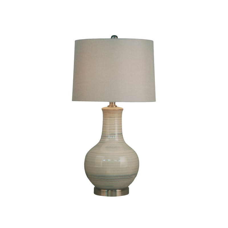 CERAMIC TABLE LAMP WITH METAL BASE, BEIGE AND GREY