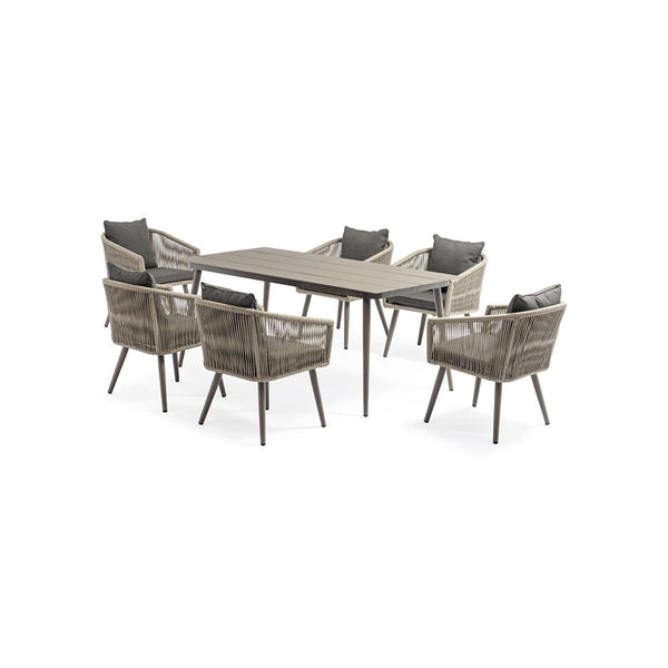 ALUM TABLE AND CHAIR (LULIN DINING 7PCS SET-ROPE TABLE-1PC, CHAIR-6PCS   (AD612001)