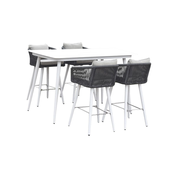 ALUM TABLE AND CHAIR (LULIN BAR  5PCS  SET, TABLE-1PC, CHAIR-4PCS  (AD612002)