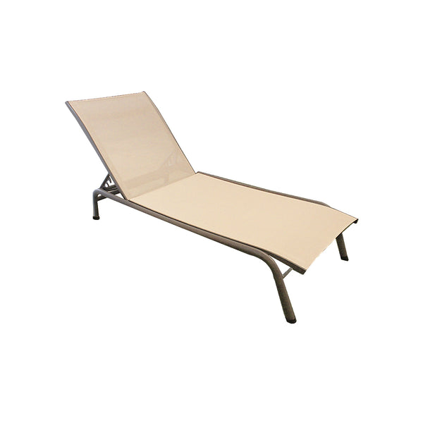 CHAISE LOUNGE BREEZE GRIS PARDO Y TELA BEIGE