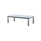 ALU COFFEE TABLE, WITH 6MM GREY FOGGY GLASS ONTOP, 118*62CM