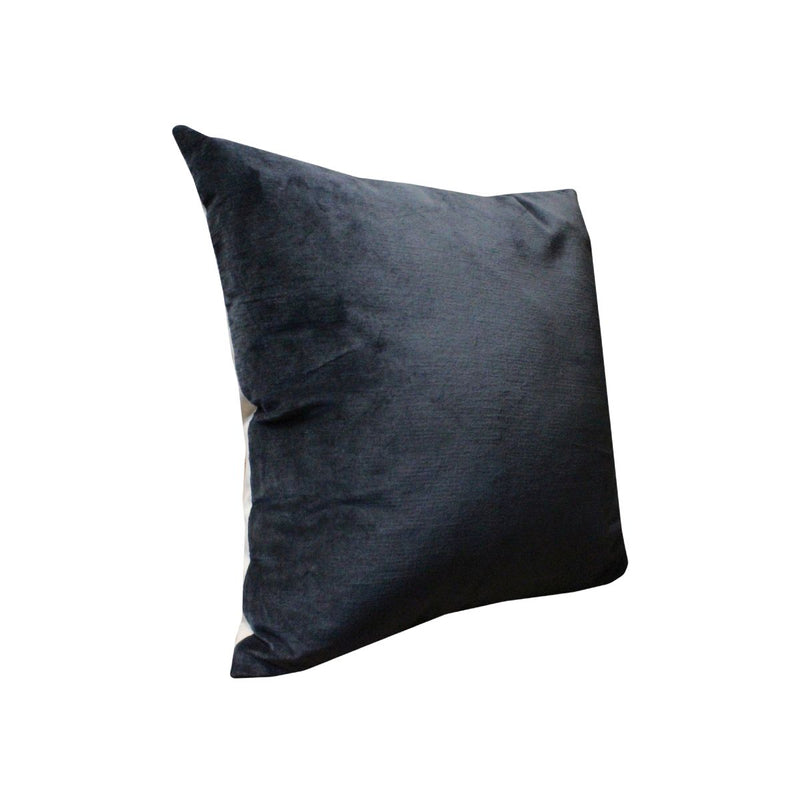 CUSHION (PLAIN SOLID COTTON VELVET IN BLUE COL OF URB-38) WITH FILLER +VACUUM - BACK PLAIN NATURAL