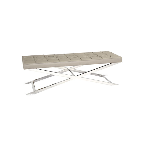 BENCH WARM GREY PU :YD-023, HIGH POLISHED 201# STAINLESS STEEL