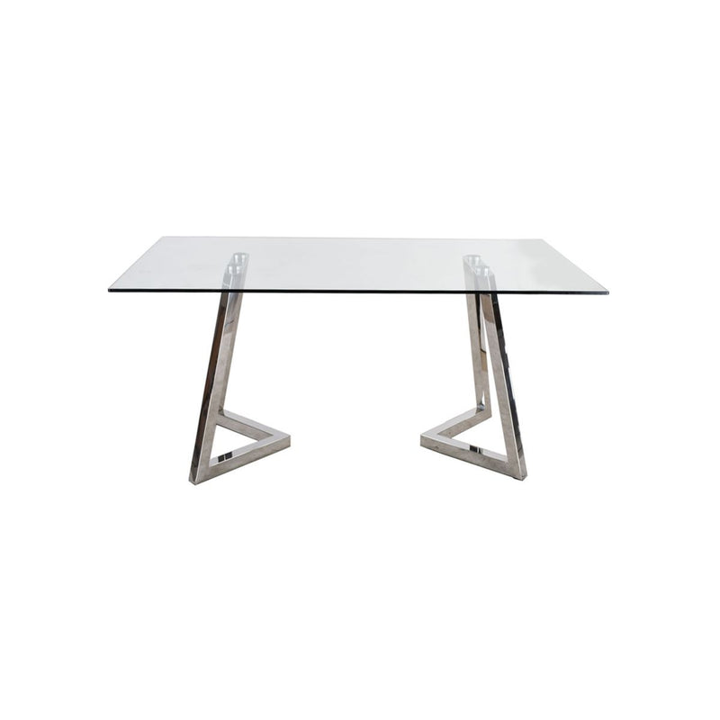 CONSOLE TABLE, CLEAR GLASS, STAINLESS STEEL WITH SHINY FINISHED