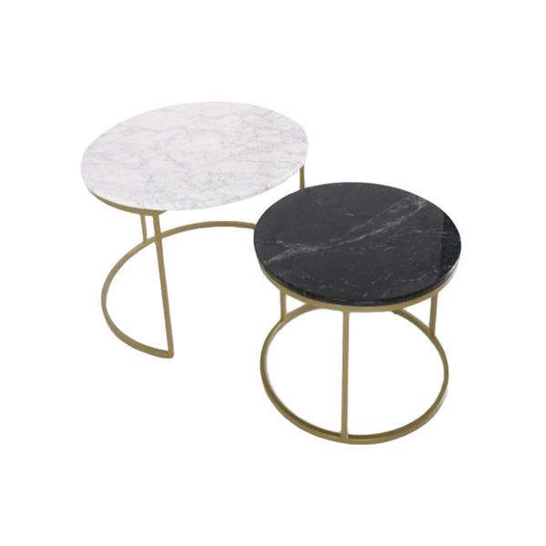 SET/2 COFFEE TABLE ITALY REAL MARBLE TOP: XHB, STEEL: GOLD COLOR