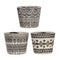 S/3 BLACK AND WHITE TERRACOTTA GARDEN PLANTERS