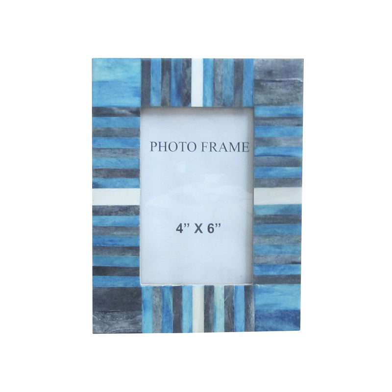 FRAME IN BLUE & GREY & WHITE STRIPES 4X6X1.5""